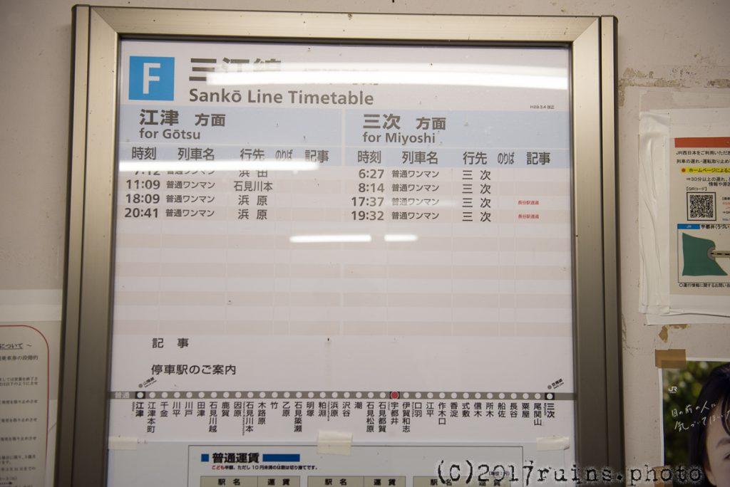宇都井駅の時刻表