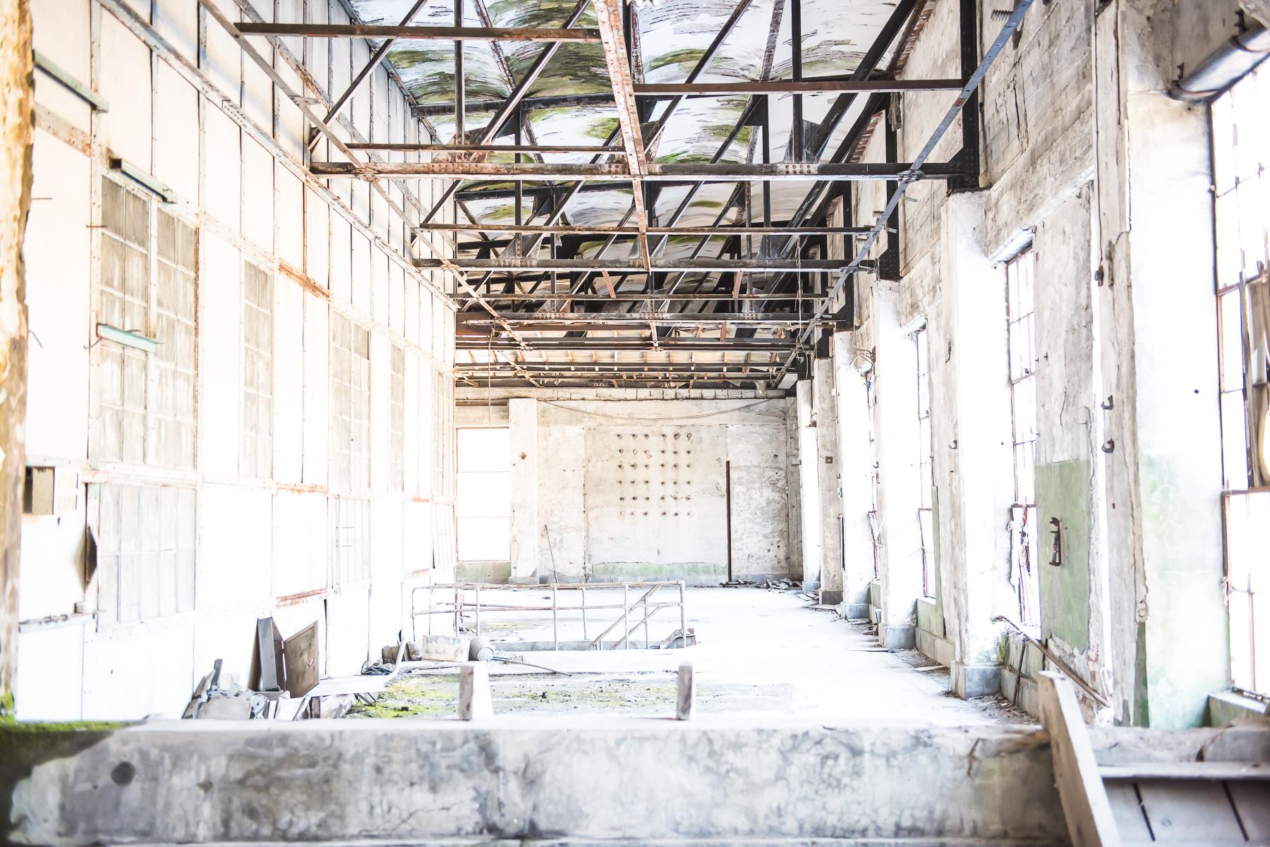 旧北炭清水沢火力発電所:2階部分を広角で撮影